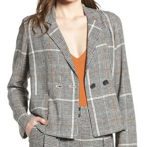 Bp plaid linen double breasted blazer